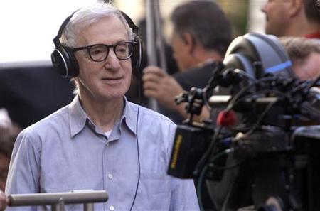 """Director Allen looks on during the shooting of his next movie """"The Bop Decameron"""" in downtown Rome"""